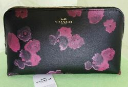 COACH COSMETIC CASE JUMBO HALFTONE FLORAL 22:NWT BLACK WINE F39058 $49.95