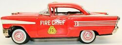 Vintage Japanese Tin Friction 1958 Oldsmobile Fire Chief 2-door Hardtop