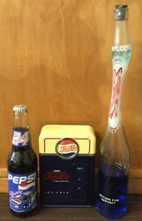 Vtg Pepsi Cola Collectibles Stretched Bottle, Pepsi Machine Radio And 24 Racing