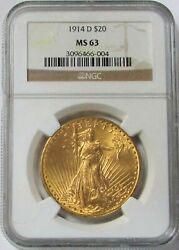 1914 D Gold 20 Saint Gaudens Double Eagle Coin Ngc Mint State 63