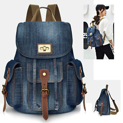 New Blue Canvas Denim Designer Satchel Backpack Bags Retro Vintage Travel Bag AU $55.99