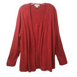 Sag Harbor Long Sleeves Cardigan Red Sweater Sparkles Layered Look Womens 3x