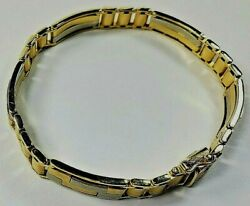 Fine 14k Yellow Gold White Gold Link Bracelet Palladium Coated Solid Authentic