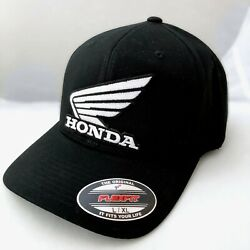 Honda Modern Wing BLACK FlexFit Hat BLACK Motorcycle Fitted Stretch Baseball HRC $20.00