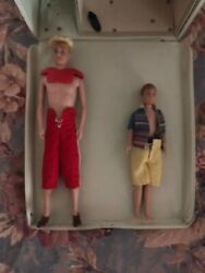 1961 Ken Doll, Barbie Doll Case And Ken Doll Case, And Ricky Doll Bundle