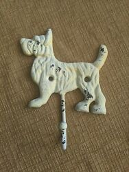 Cast Iron Scottie Dog Terrier Wall Hook Hanger Shabby rustic Cairn Rustic white