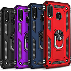For Samsung Galaxy A20 A50 Case Ring Kickstand Cover + Tempered Glass Protector