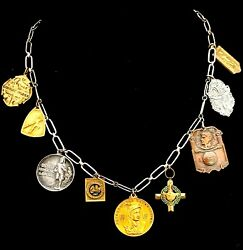 Antique Silver Gold Copper Sports Medals Necklace Sterling Chain