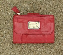 FOSSIL PINK EMORY MULTIFUNCTION LEATHER WALLET $18.00