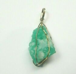 Colombian Emerald Natural Raw Crystal Pendant 50.08 Cts 18k Gold And Silver Muzo M