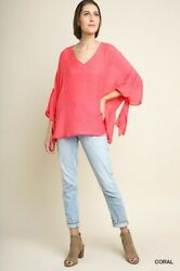 Very Oversized M Gigio By Umgee Coral Tie Sleeve Semi-sheer Tunic/top/shirt Bhcs