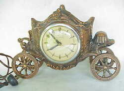 Very Vintage United Horse Carriage Electric Clock W Bronze Plating