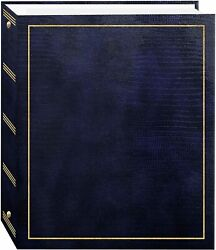 Photo Album Magnetic Self-stick 3 Ring Pictures Albums 100 Pages Navy Blue New