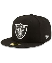 Oakland Raiders Black Nfl Authentic New Era 59fifty Fitted Cap Hat Sz 7 1/2 New