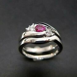 1.5ct Ruby And Diamonds Dual Gemstone White Gold Wedding And Engagement Ring For Her
