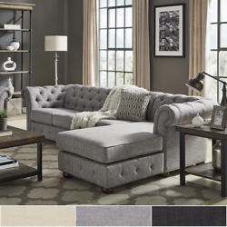 Knightsbridge Tufted Scroll Arm Chesterfield 4-seat Sofa And Chaise By Inspire Q