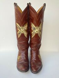 Vintage Justin Butterfly Tall Ladies Cowboy Western Boots 7c Exotic Python Snake