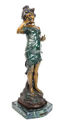 A Continental Patinated Bronze Of A Young Girl August Moreau