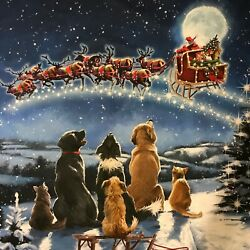 Midnight Meeting Dogs Santa Christmas Fabric Panel 36 x 44quot; 100% Cotton $14.20