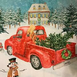 Red Truck Snowman and House Vintage Fabric Panel 36 x 44quot; 100% Cotton