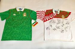 Authentic 1994 Mexico Umbro World Cup Soccer Home Jersey Signed By Team Size L