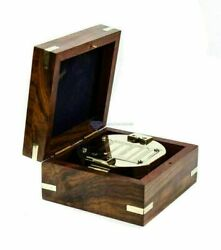 Maritime Brass Compass With Wooden Box Nautical Direction Compass Lot Of 50 Pcs
