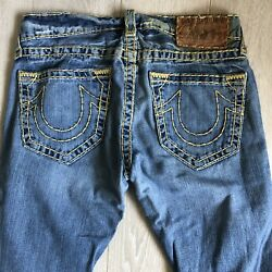 True Religion Jeans Bobby Super T Skinny 29 33 Leather Patch Yellow Stitch Light