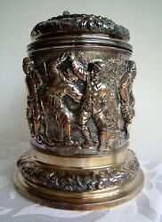 Victorian Museum Elkington And Co Music Band Figural Lidded Beer Tankard Ca 1875