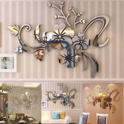 3D Mirror Floral Art Removable Wall Sticker Acrylic Mural Decal Home Room Decors $17.66