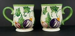 Set Of 2 Zrike Beige Green Handpainted Holly Ornaments Christmas Holiday Mugs
