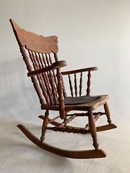 Antique Rocking Chair Saddle Pressed Back Cherry Mission Arts And Crafts Leather