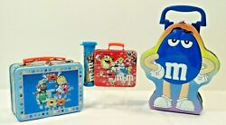 Mandm's Lunch Boxes Lot Of 3 Vintage Collector Tins