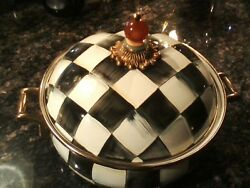 Mackenzie-childs Courtly Check Enamelware Choc/cheese Fondue Quirks Have Charm