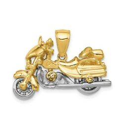 14k Gold Two-tone 3-d Moveable Motorcycle Charm Pendant 0.71 Inch