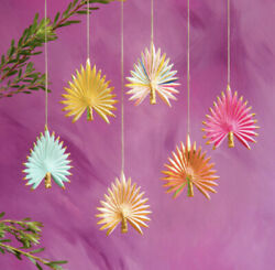 """New Glitterville Anthropologie Christmas Vintage Frond Ornaments Set Of 6 5.75"""""""