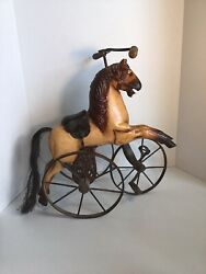 Victorian Era 17x15in Wood And Cast Iron Horse Children's Toy
