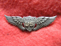 763. Wwi 2 Inch Robbins Style Military Aviatorand039s Badge In Sterling Solid Back