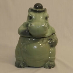 Vintage Sitting Hippo Cookie Jar Green With Hat 1969 Brush