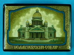 Russian Russia Mstera Handpainted Signed St Isaac's Cathedral Laquer Trinket Box