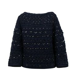 Nwt Valentino Navy Embellished Beaded Chunky Knit Sweater Top Size Xs 5227