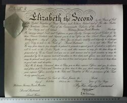 1953 Queen Elizabeth Ii Signed Military Commission With Original Postage Tube