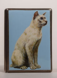 English Sterling Enameled Cigarette Case With A Great White Cat