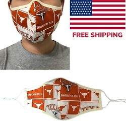 UT Austin Texas Longhorns Quality Fabric Face Mask Cotton Cloth Handmade USA  $9.95