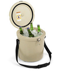 Portable Cooler Ice Chest 3 Quart With Strap Ice Box For Outdoors Camping Khaki