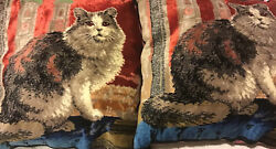 2 Cat Tapestry Pillows Made In Italy Beautiful Colors