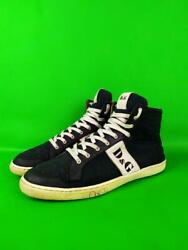 Dolce And Gabbana Butterfly Hi-top Logo Sneakers Black Canvas 42 Mens