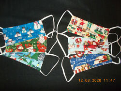 CHRISTMAS THEMED Face Masks 6pk Washable Cotton Made in USA $19.95
