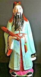 Rare Antique Vintage Hand Painted Chinese Porcelain Feng Shui Fuk Idol 17 Tall