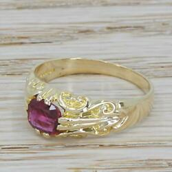 Late 20th Century 1.40ct Ruby Solitaire Ring - Yellow Gold - London Dated 1985