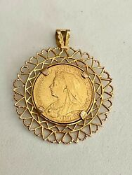 1898- Gold Sovereign In Ornate Solid 9k Yellow Gold Bezel/bale, See Other Coins